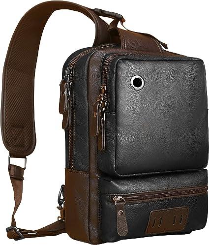 Amazon.com: Mochila bandolera de piel, bolsa bandolera para ...