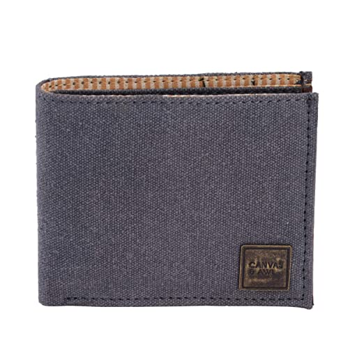 b614fafd3f81 CANVAS & AWL Men's RFID Bifold Canvas Wallet with Genuine Leather Trim 15  Card Slot OLW25A