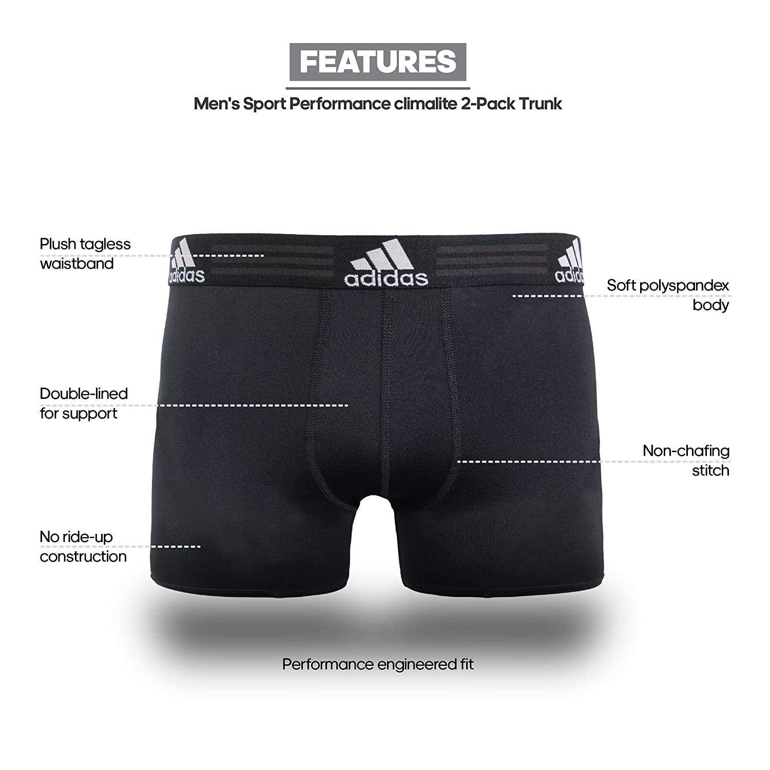 58a7e40ad562 Amazon.com  adidas Men s Sport Performance Climalite Trunk Underwear  (2-Pack)  Sports   Outdoors