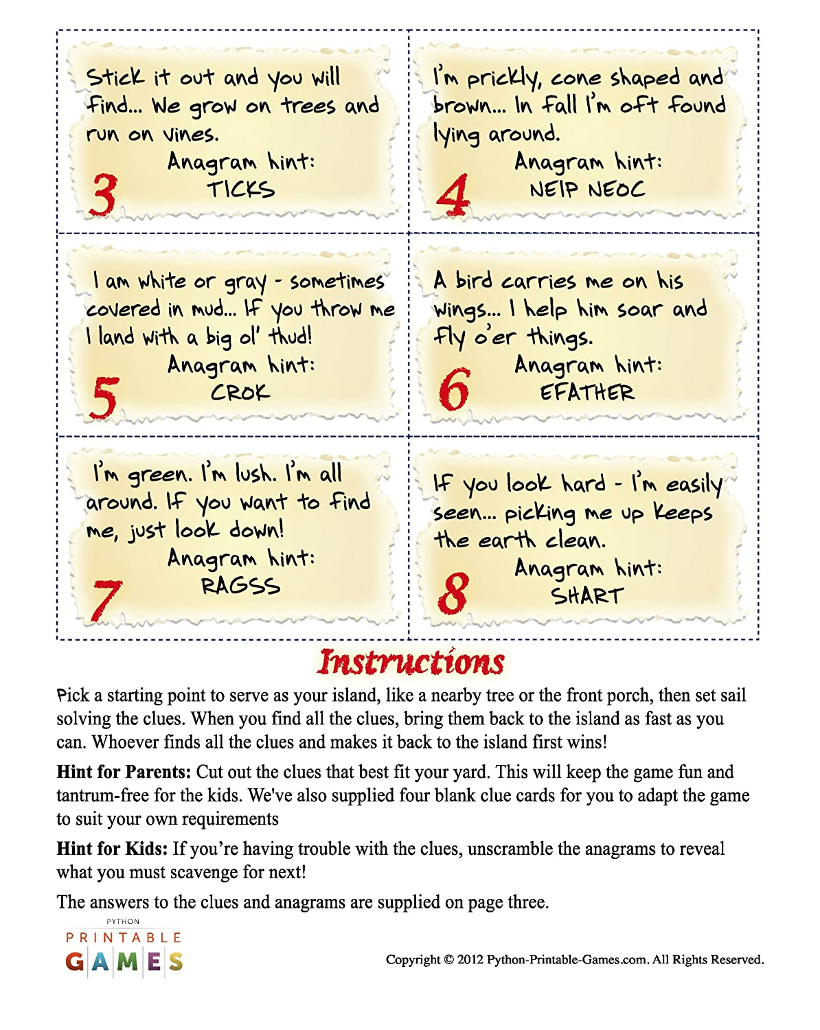 amazon com nature scavenger hunt printable pirate party game