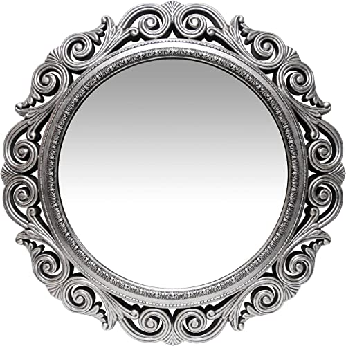 Infinity Instruments Antique Silver Wall Mirror 24 inch Large Round Mirror Living Room Bedroom Circular Mirror Ornamental Round Mirrors for Wall Decor Antique Silver Decorative Mirrors for Bedroom