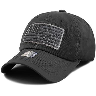 THE HAT DEPOT Low Profile Tactical Operator USA Flag Buckle Cotton Cap  (Black-2 480d7209e90
