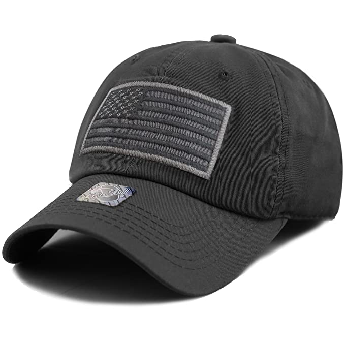 742cb0fd776 THE HAT DEPOT Low Profile Tactical Operator USA Flag Buckle Cotton Cap  (Black-2