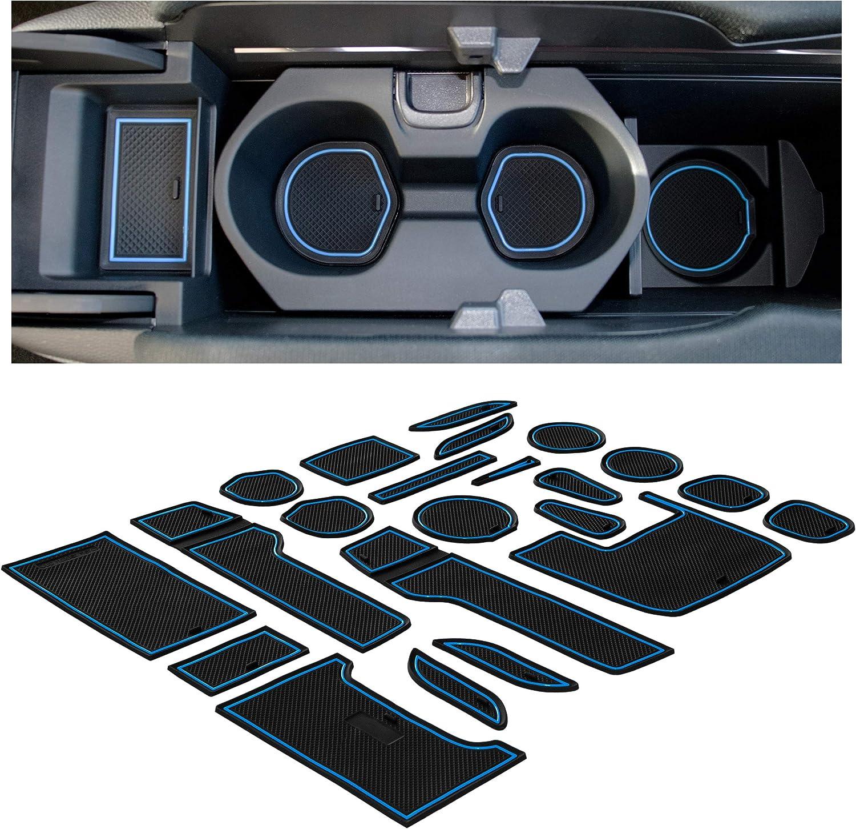 Blue Trim Sedan Center Console Liner Mats CupHolderHero for Honda Civic Accessories 2016-2020 Premium Custom Interior Non-Slip Anti Dust Cup Holder Inserts Door Pocket Liners 21-pc Set