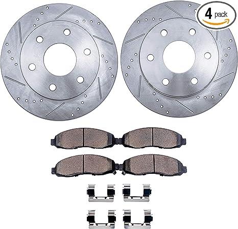 2006 2007 2008 2009 2010 Hummer H3 H3T F+R DRILLED Brakes Rotors Ceramic Pads