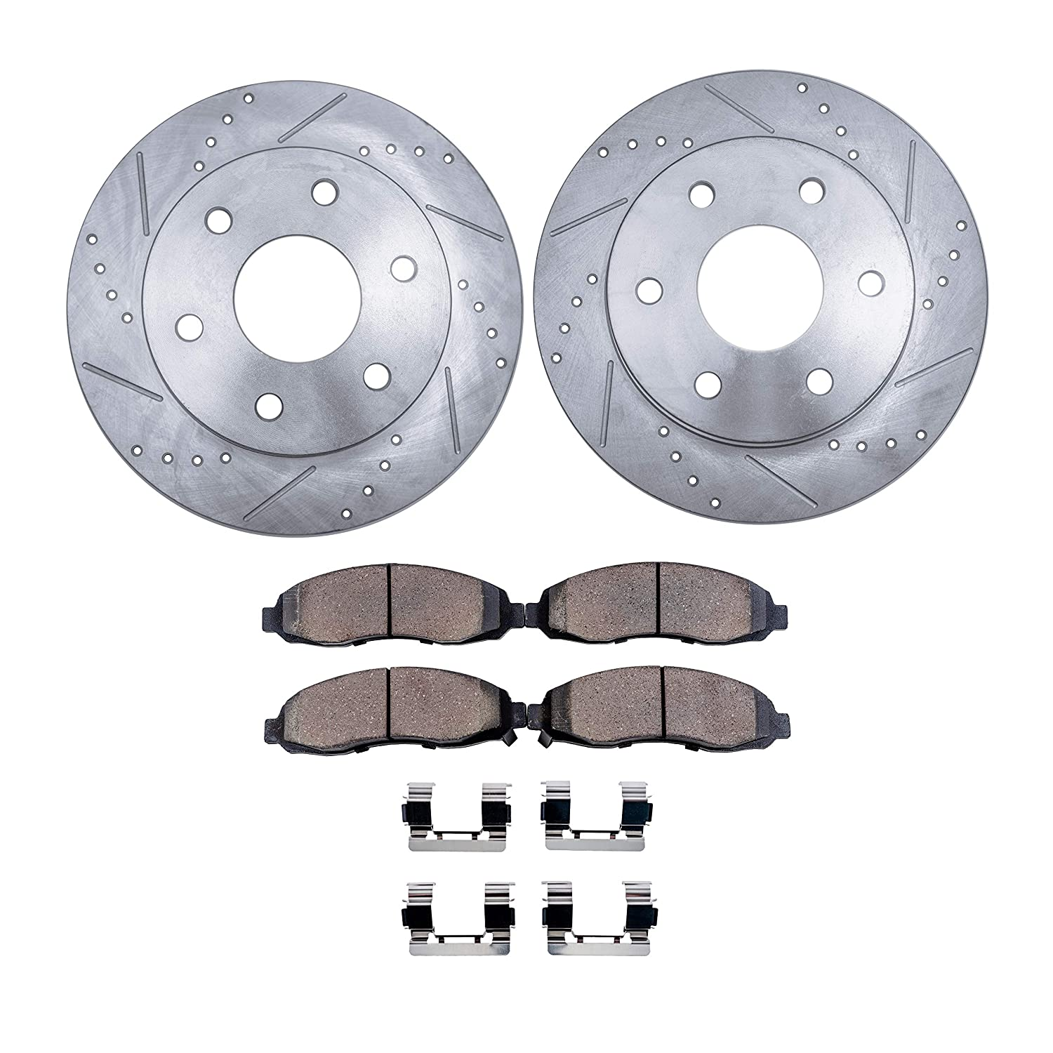 Detroit Axle - Drilled & Slotted Front Brake Rotors & Ceramic Pads w/Clips Hardware Kit for 08-15 Escalade, EXT,ESV - [08-15 Sierra/Silverado 1500] - [08-15 Suburban, Yukon, Avalanche]