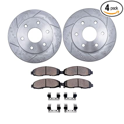 Detroit Axle -6-Lug Drilled & Slotted FRONT Disc Brake Rotors w/Ceramic  Pads w/Hardware for 2005-2014 Toyota Tacoma 6-Lug - [2007-2014 Toyota FJ