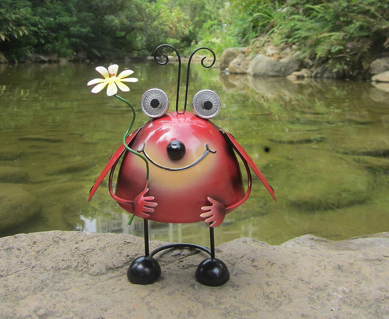 Bailym Ladybug Garden Statue,Metal Yard Art, Solar Metal Animal Garden Decor for Lawn Ornaments Front Yard Backyard Patio Decor