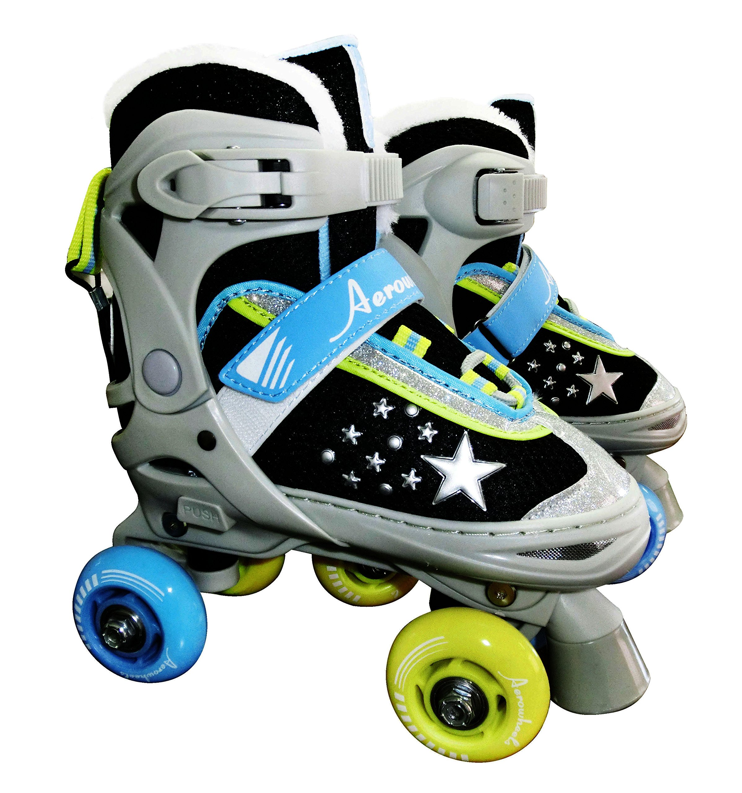 JNJ Aerowheels Roller Skates for Boys and Girls Adjustable Quad Skates