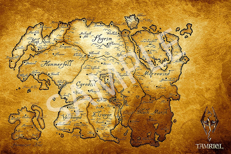 Amazon.com: Best Print Store - The Elder Scrolls V, Skyrim, Map of ...