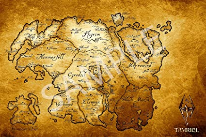 Amazon.com: Best Print Store - The Elder Scrolls V, Skyrim, Map of ...
