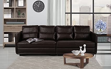 Amazon.com: Classic 2 Piece Convertible Living Room Leather Sofa ...