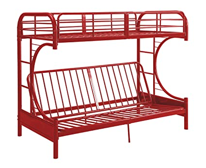 Amazon Com Acme Furniture Eclipse Futon Bunk Bed Red Twin Over