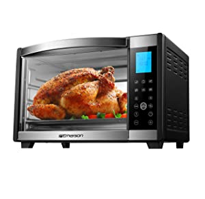 Emerson Convection & Rotisserie Countertop Toaster Oven, 6-Slice,Stainless Steel, Digital Touch Control Panel, ER101004
