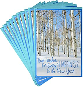 Hallmark Pack of Happy New Year Cards, Peace and Joy (10 Cards with Envelopes)