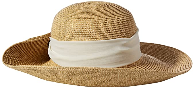 4fb5ca0c8b4f55 Nine West Women's Packable Tweed Floppy Hat with Scarf, White, One Size