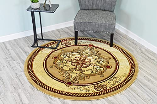 PlanetRugs Glamour Design 206 3D Hand Carved Traditional Rug Oriental Floral 5 3 x5 3 Round Beige Cream