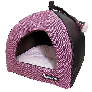 TOPZOO Cama para gatos con cubierta, tejido de color rosa.: Amazon.es: Productos para mascotas