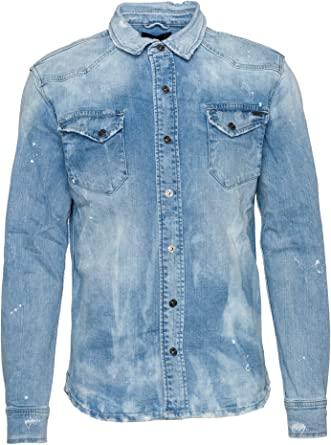 Tigha Fred Camicia Casual, Blu (Bleached Sky Blue 556), XL