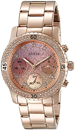6fc616518a GUESS Rose Gold-Tone + Pink Stainless Steel Bracelet Watch with Day, Date +