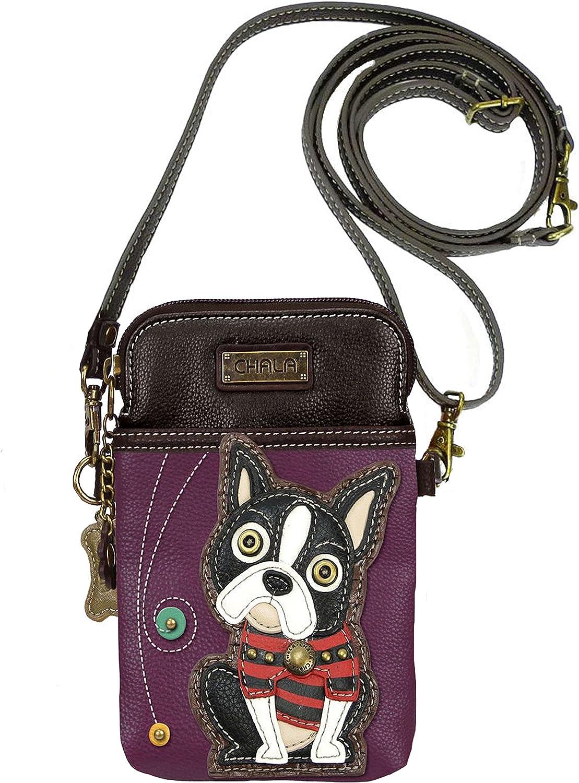 Boston Terrier Vegan Leather Crossbody Bag Wristlet Pouche for Dog Lover