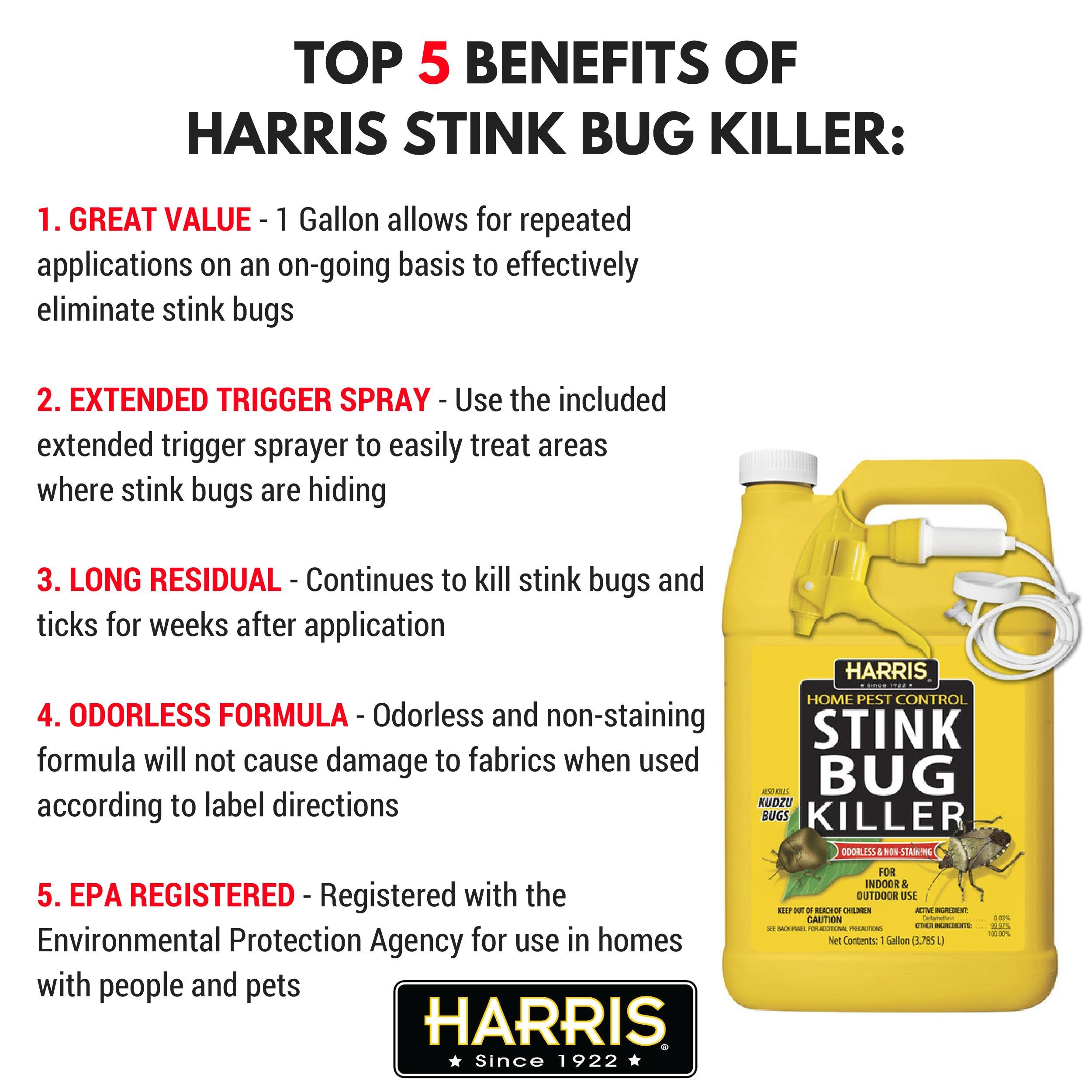 Harris Stink Bug Killer, Liquid Spray with Odorless and Non-Staining Formula (Gallon) by Harris