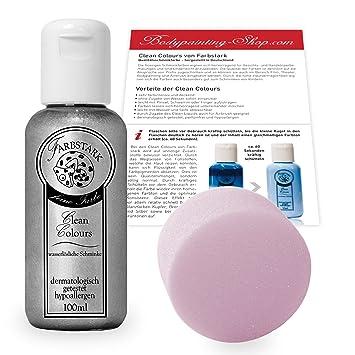 89d998e26c Farbstark Bodypainting Farben - hautfreundliche Körperfarbe in Profi  Qualität (auch für Airbrush geeignet), Set: 100 ml Farbe Silber +  Schminkschwamm: ...