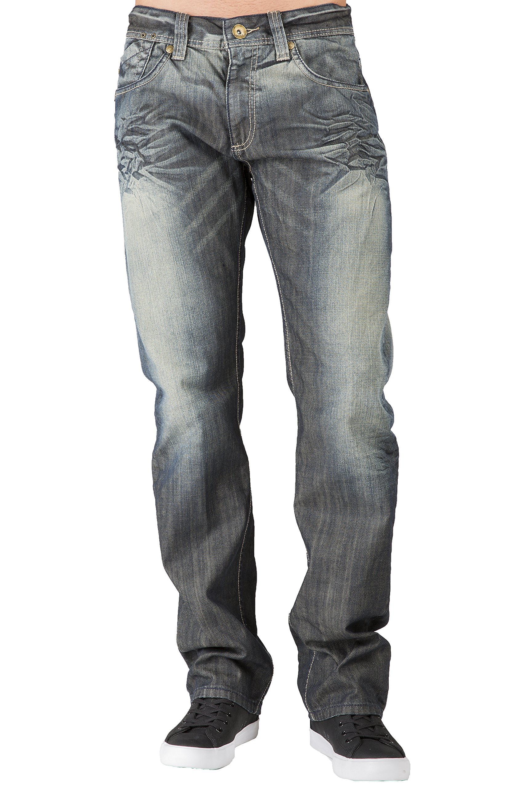 Level 7 Men's Relaxed Straight Leg Dark Tint Premium Denim Jeans Wrinkle Whiskering Size 38