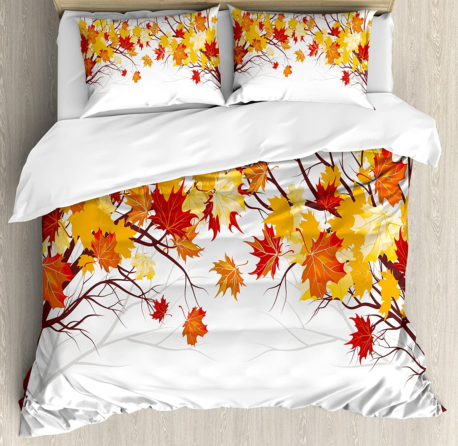 Ambesonne Fall Duvet Cover Set, Image of Canadian Maple Tree Leaves in Autumn Season with Soft Reflection Effects, Decorative 3 Piece Bedding Set with 2 Pillow Shams, King Size, Orange White