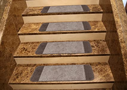 Ottomanson Softy Stair Treads Brown Design Set Of 7 Skid Resistant Rubber  Backing Non Slip (
