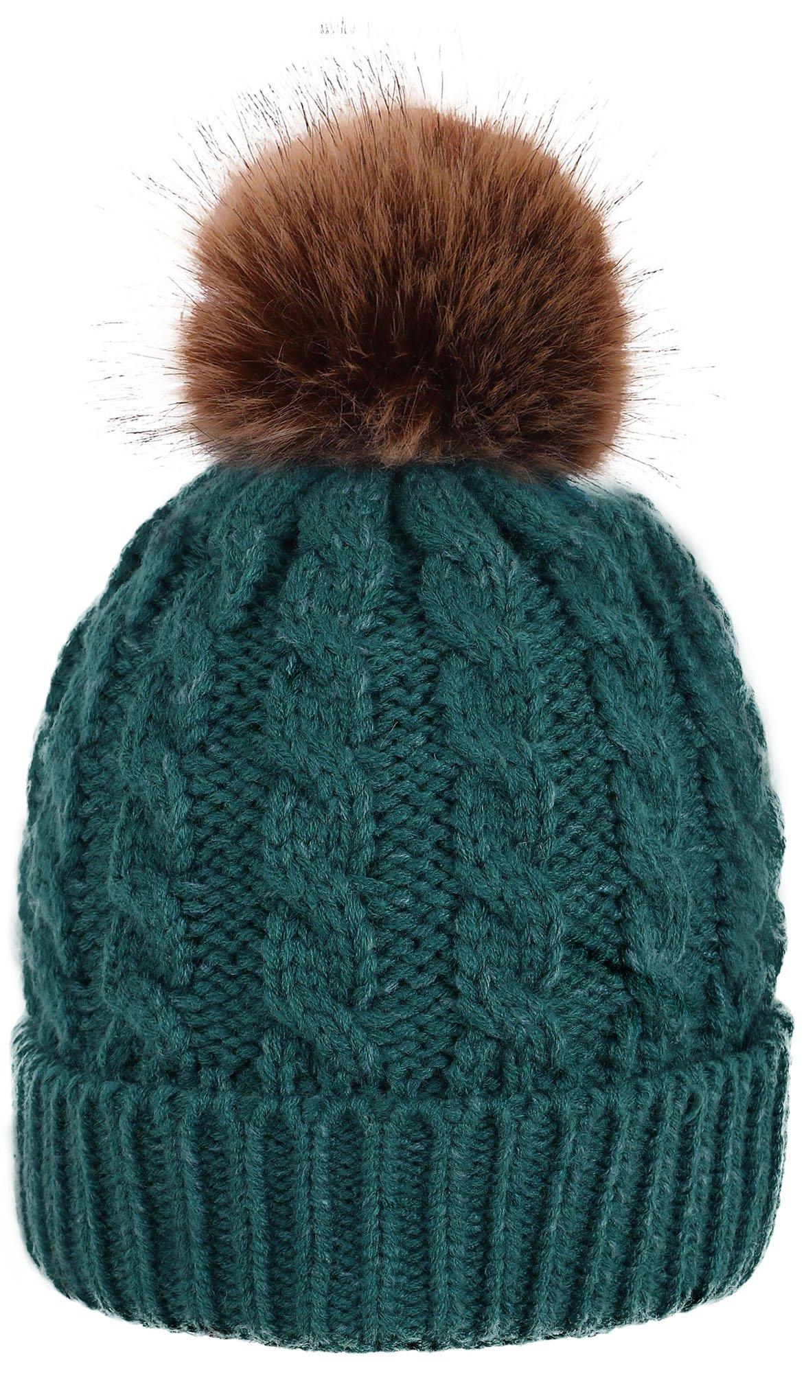 Simplicity Men/Women's Winter Hand Knit Faux Fur Pompoms Beanie Hat, Green