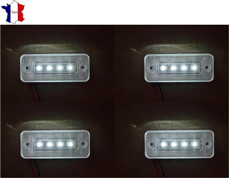 4X 12V 4 LED FEUX DE GABARIT LATERAUX BLANC CAMION CARAVANE BUS VAN REMORQUE