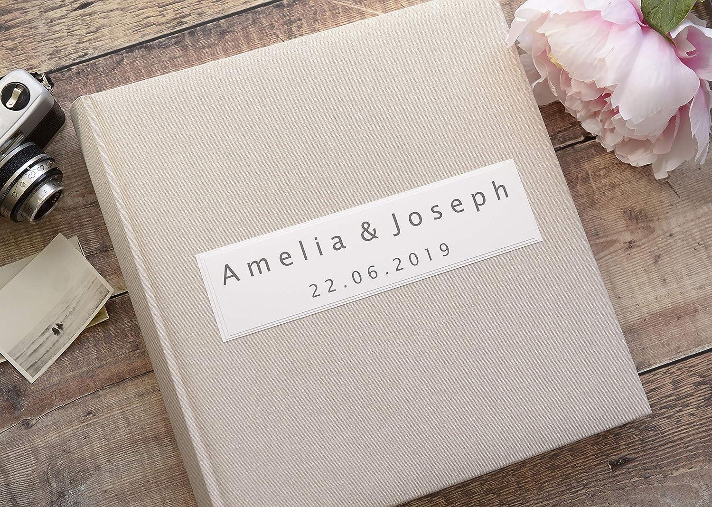 Personalised Linen Photo Album Luxury Wedding Photo Album Traditional Style Book Bound Album 50 Pages 100 Sides Amazon Co Uk Handmade