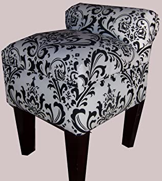 Amazoncom Rolled Arm Vanity Stool Chair Black White Traditions