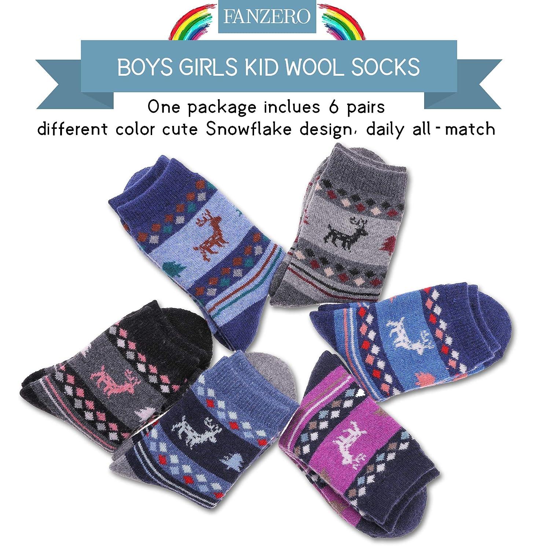 FANZERO 6 Pairs Kids Boys Girls Socks Childrens Winter Thick Soft Warm Wool Crew Socks