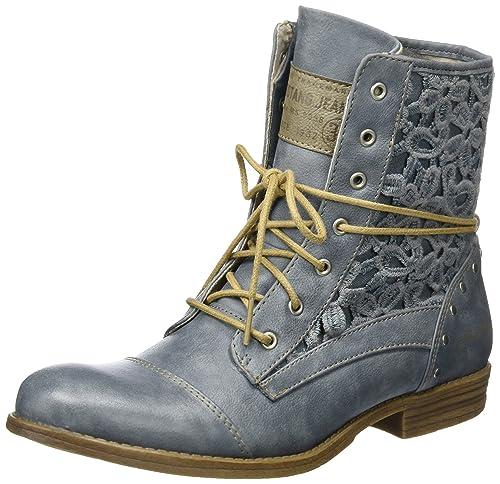 Stiefel Stiefelette Stiefel Combat Schuhe Damen Mustang rot