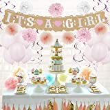 "Baby Shower Decorations Kit for Girl –43 Piece Party Decor Supplies Includes ""It's A Girl"" Banner, Pink Balloons, Tissue Paper Pom Poms, and More! – by Grand Joys"