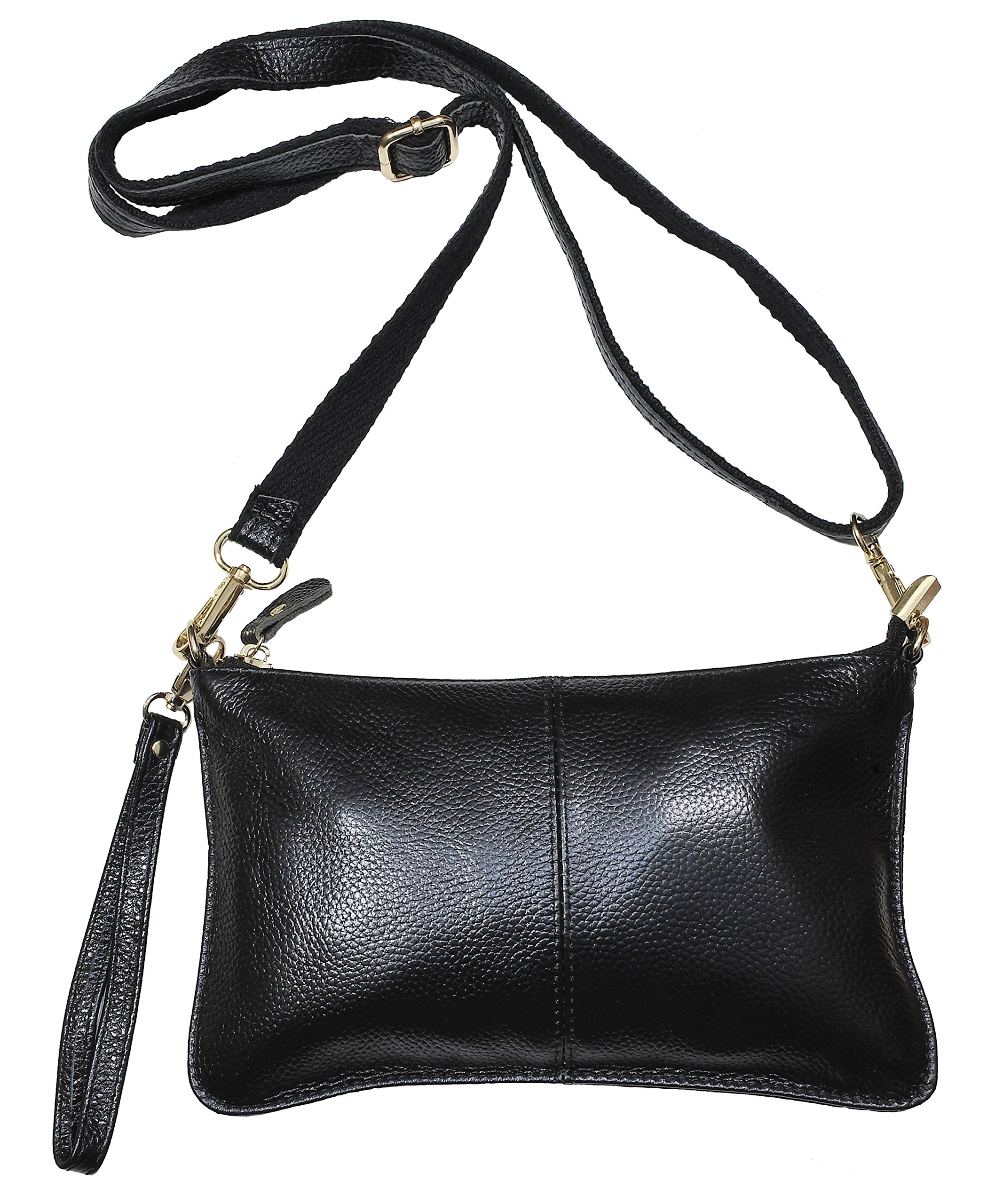 Beurlike Womens Leather Clutch Purse Wallet Small Crossbody Bag with Wristlet (Black)