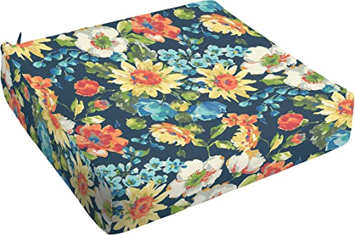 Mozaic AMCS115813 Indoor or Outdoor Square Chair Seat Cushion with Round Corners, 23 x 23.5 x 5, Navy Floral