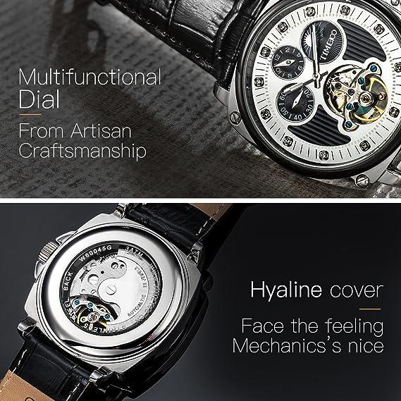 307a567c6260d Time100 Montre Mécanique Automatique Bracelet Cuir véritable Multifonction  Cadran Fritillaire Naturelle la Date Mouvement Japonaise étanche (Noir et  ...