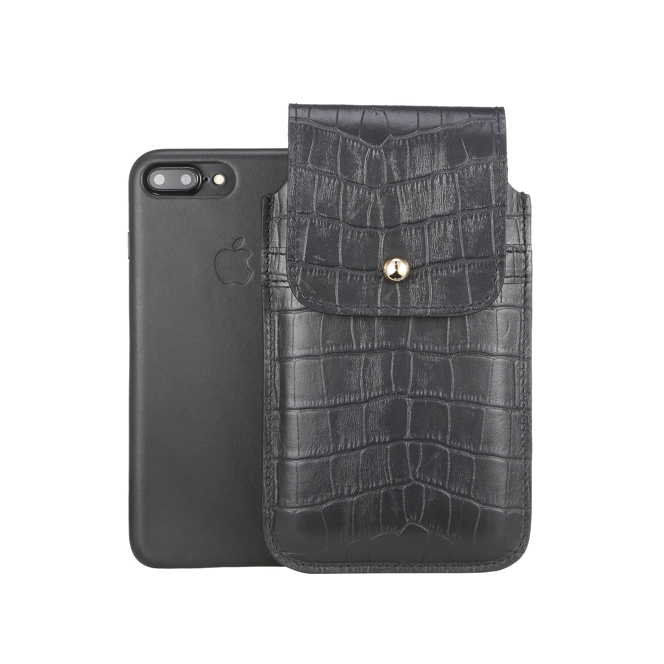 Blacksmith-Labs Barrett Mezzano 2017 Premium Genuine Leather Swivel Belt Clip Holster for Apple iPhone 7 Plus for use with Apple Leather Case - Black Croc Embossed Cowhide/Gold Belt Clip by Blacksmith-Labs (Image #3)
