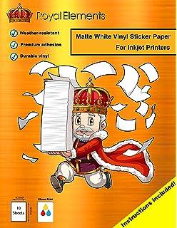 royal elements waterproof sticker paper 10 sheets printable vinyl inkjet matte white