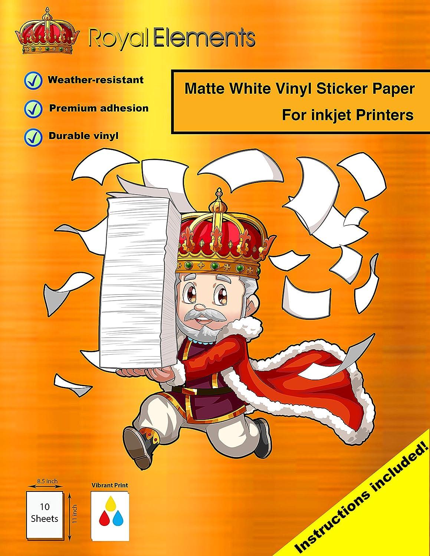 Amazon com royal elements waterproof sticker paper 10 sheets printable vinyl inkjet matte white home kitchen