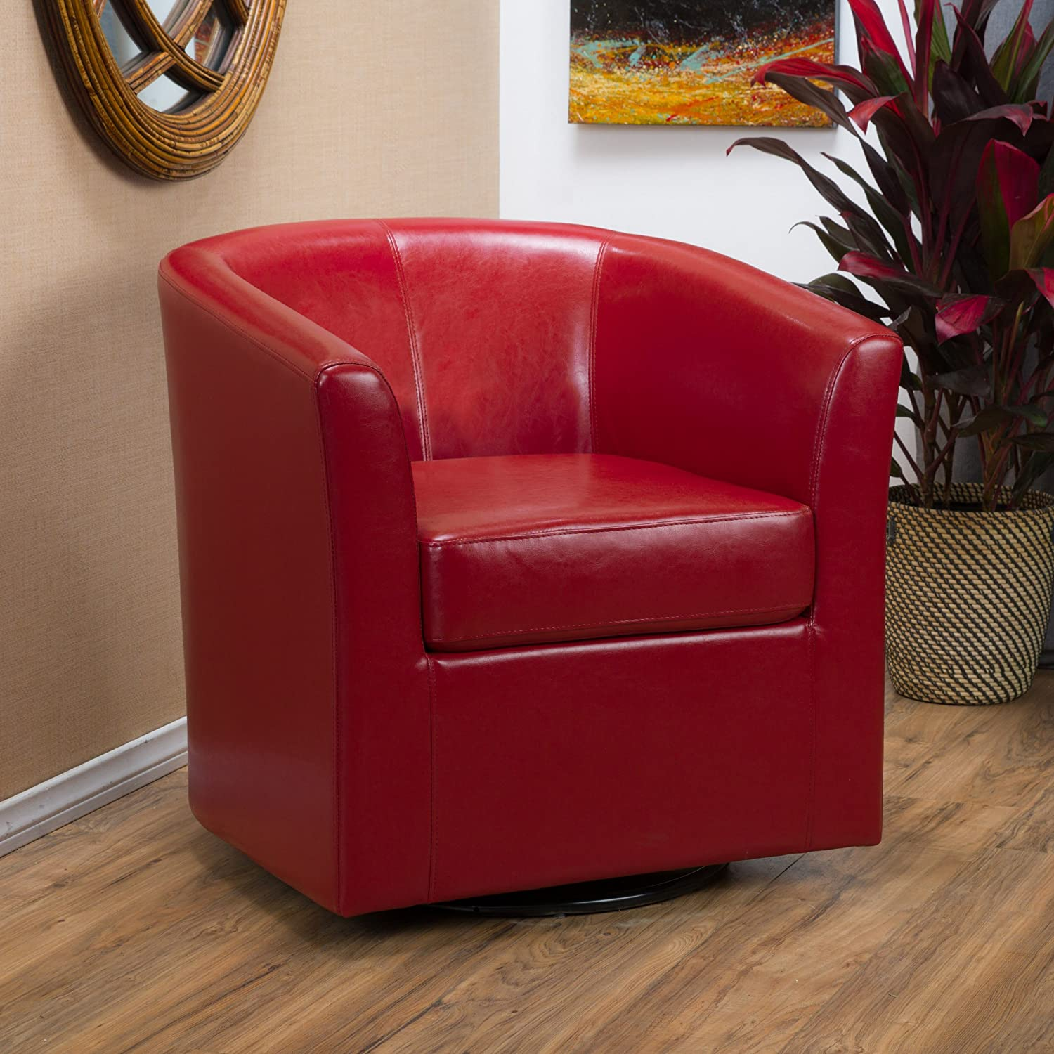 Amazon Com Corley Red Leather Swivel Club Chair Kitchen Dining