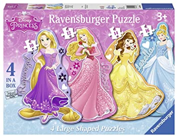Ravensburger Disney Princess 4 Large Shaped Jigsaw Puzzles 10121416pc