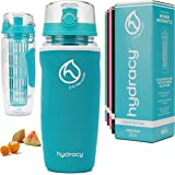 Hydracy Fruit Infuser Water Bottle - 32 oz Sports Bottle - Insulating Sleeve, Time Marker & Full Length Infusion Rod…
