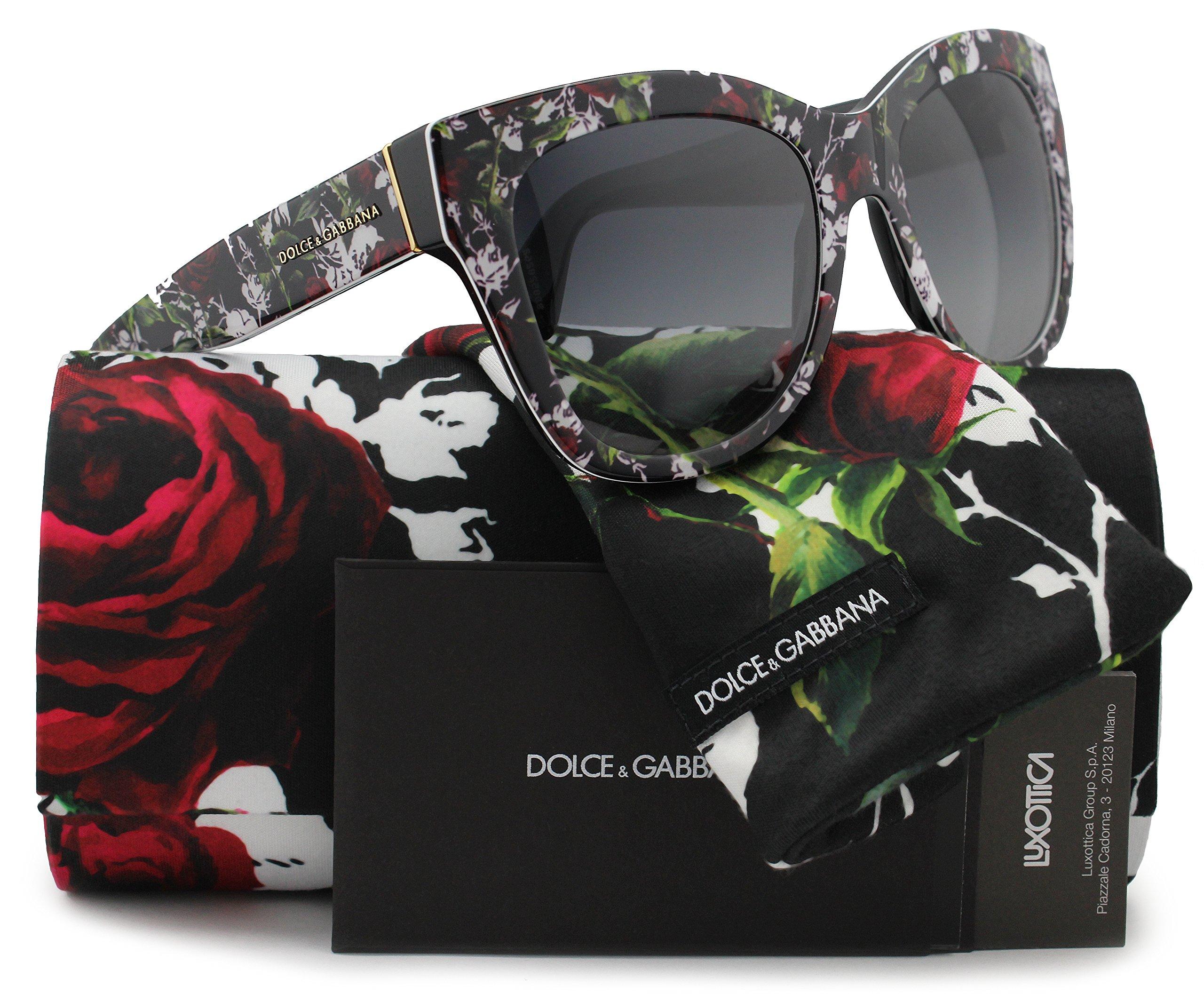 Dolce & Gabbana DG4270 Sunglasses Top Print Rose/Black w/Grey Gradient (3019/8G) DG 4270 30198G 55mm Authentic
