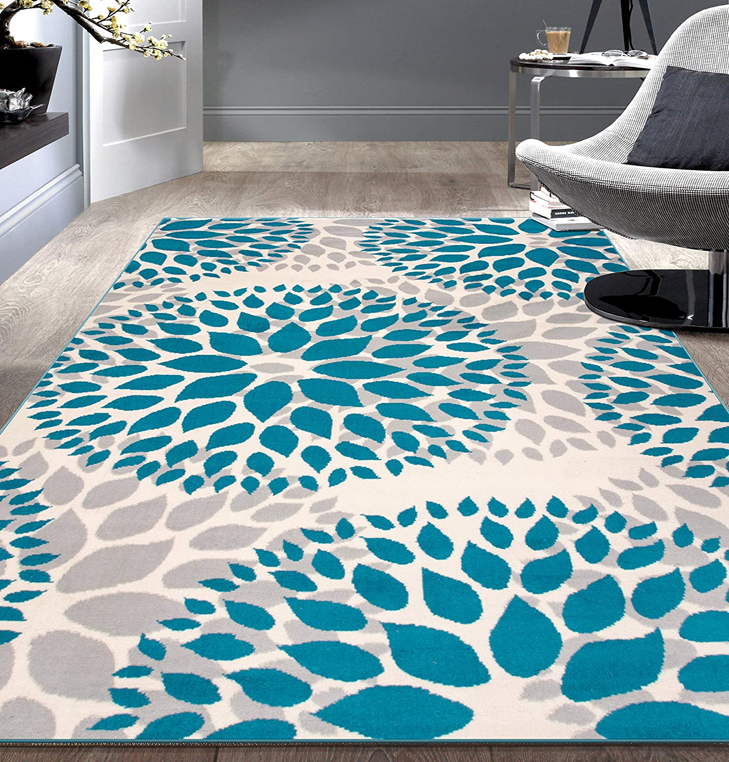 Modern Floral Circles Design Area Rugs 5' X 7' Blue: Furniture & Decor