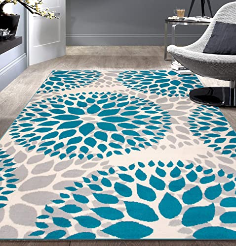Modern Floral Circles Design Area Rugs 7 6 X 9 5 Blue
