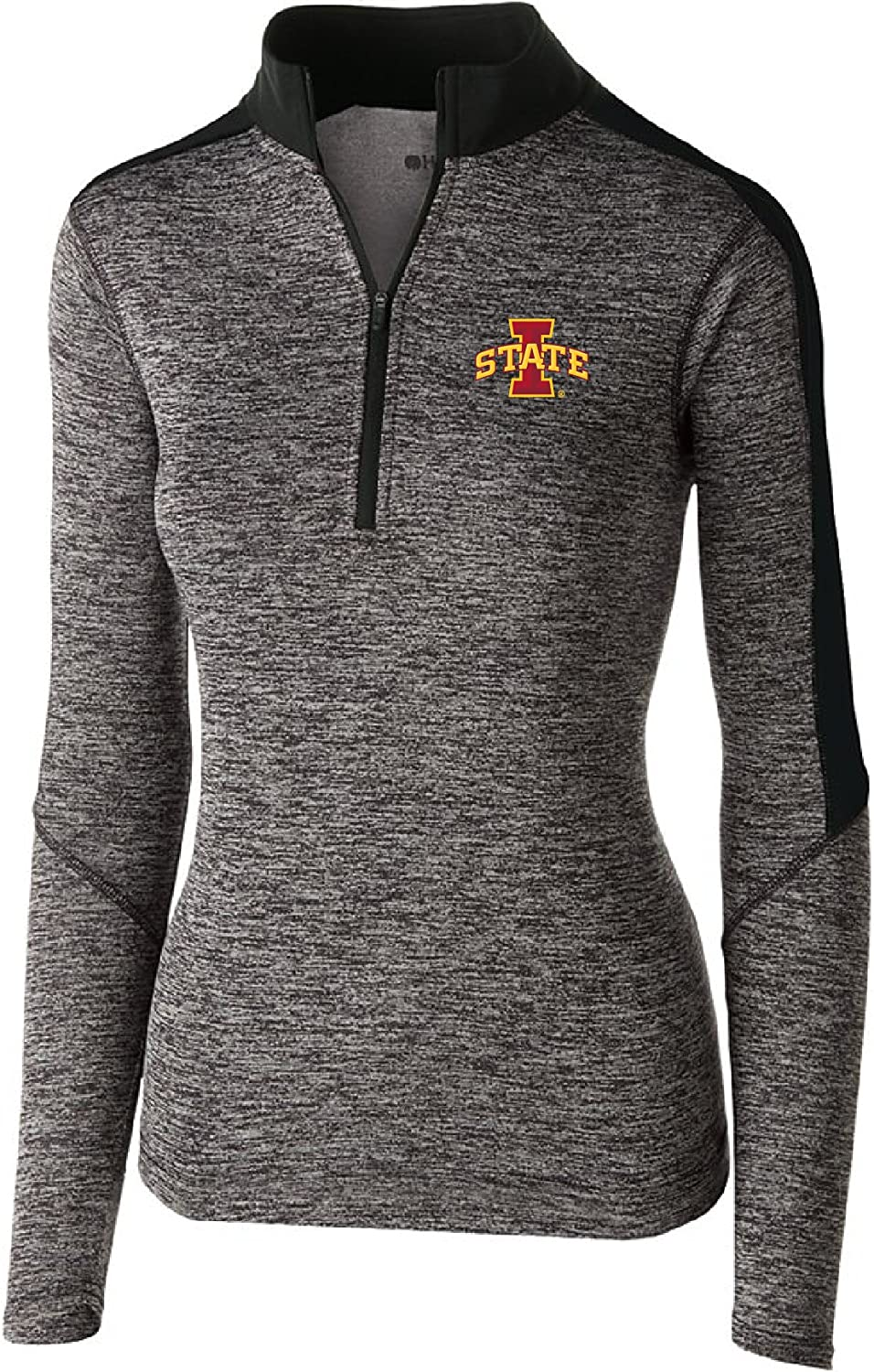 Medium Black Heather//Black Ouray Sportswear NCAA Iowa State Cyclones W Electrify 1//2 Zip Pullover